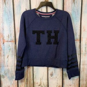 Tommy Hilfiger Sport Blue & Black Cropped Sweatshirt Size Small Juniors